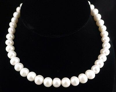 """10mm-11mm 16"""" Genuine Natural White Pearl & Sterling Silver Necklace"""
