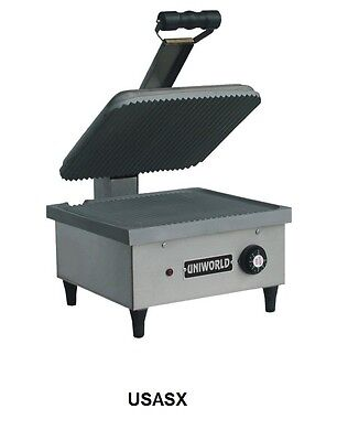 Uniworld S/S Electric Panini Grill 14x13 Ribbed Plate ETL Approved Model# USASX