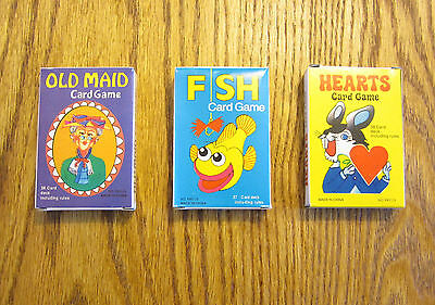 3 New Decks Of Kids Card Games Old Maid Go Fish And Hearts  Party Favors