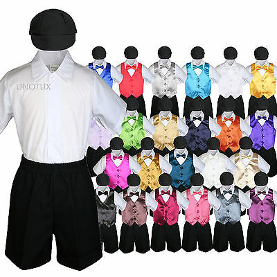 5pc Baby Boys Toddler Formal Vest Shorts Black Suit Satin Vest Bow Tie Set S-4T