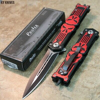"""8.5"""" Punisher RED Stiletto Tactical Assisted Pocket Knife NEW PR06203-RD zix"""
