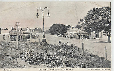 Real photo postcard New Zealand Victoria Street Cambridge, Wilkinson Stationers