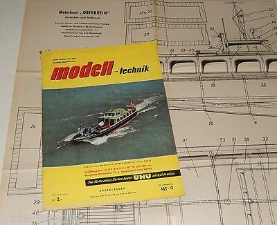 Magazine MODELL TECHNIK 1959 Plan grand format FORD Atmos + Motorboot OBERRHEIN