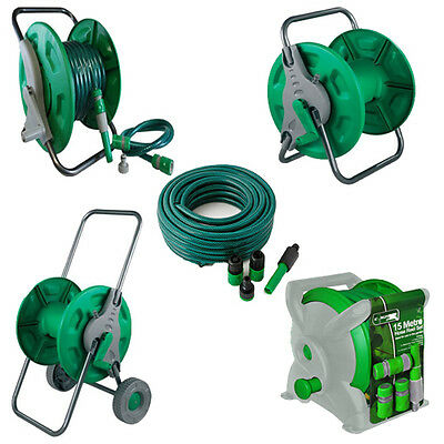 Brand New Hose & Reel Garden Sets Trolley Wall Mountable Spray Pipe Nozzle Multi