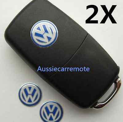 2x 14MM VW KEY FOB LOGO BADGE EMBLEM STICKER VOLKSWAGEN GOLF BORA PASSAT POLO