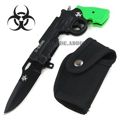 "8.5"" ZOMBIE Tactical Pistol Gun Spring Assisted Open Pocket Knife -W"