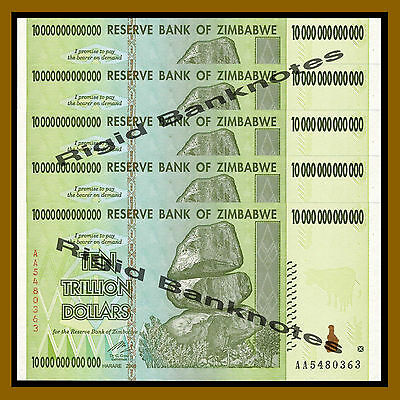 Zimbabwe 10 Trillion Dollars x 5 Pcs, 2008 AA (100 Trillion Series) Unc