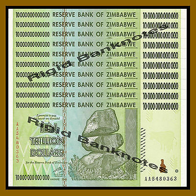 Zimbabwe 10 Trillion Dollars x 10 Pcs, 2008 AA = (100 Trillion) Unc