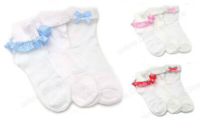 Pack of 3 Girls Gingham Lace Socks Frilly White Ankle School Chic Kids Frilled