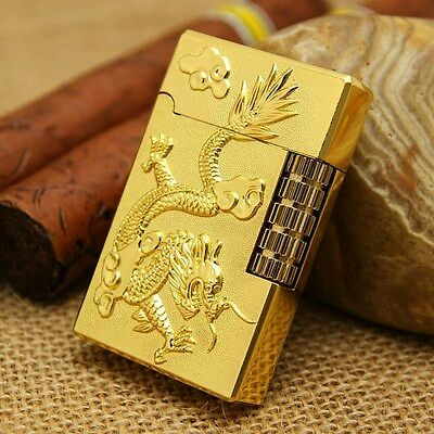 STYLES YEAR OF THE DRAGON WELLINGTON FLINT 23KT POLISHED GOLD LIGHTER NEW GIFT