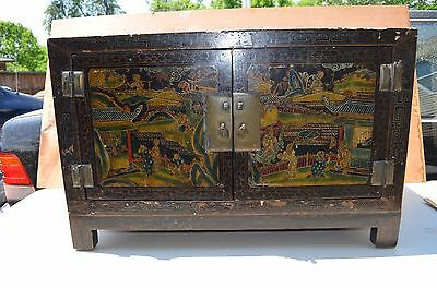 Chinese antique 18th-19th  Century wood chest and sign