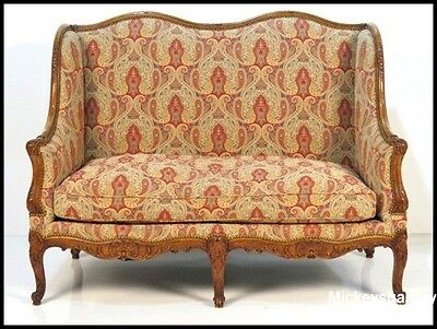 Louis XV Finely Carved Walnut Paisley Settee Loveseat Sofa
