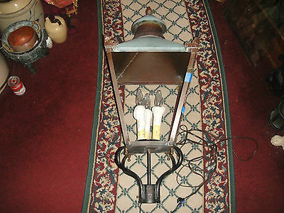 "Antique Copper Street Lamp-38"" Tall-1800's Street Lamp-Amazing-Architectural"