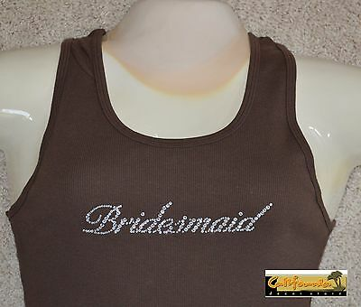 """BRIDESMAID"" Brown Tank Top American Apparel Shirt Wedding Junior Womens Size"
