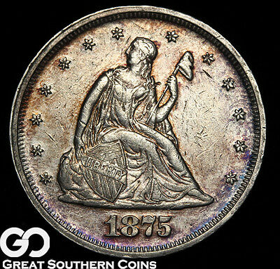 1875 Twenty Cent Piece, Highly Desired Uncirculated Silver Piece, ** Free S/H!