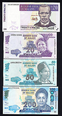 Malawi 2007 - 2012 4 UNC Notes 20 - 200 Kwacha First Prefix AA