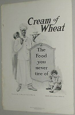 1918 Cream of Wheat advertisement, black cook, small boy