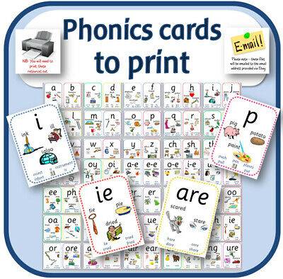 PHONICS FLASH CARDS TO PRINT pdf POSTERS DISPLAY EYFS KS1 TEACHING RESOURCES