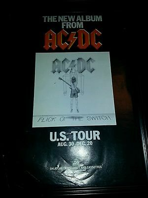 AC/DC Flick Of The Switch Tour Rare Original Promo Poster Ad Framed!