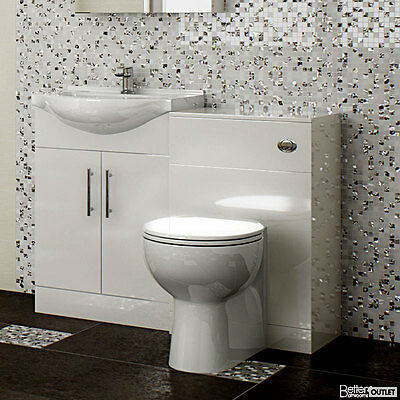 Toilet Basin Sink WC Back To Wall Bathroom Suite shelves Cupboards Vanity Unit