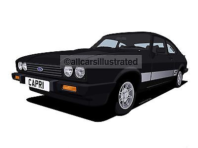 Ford Capri 2.0S Graphic Car Art Print (Size A3). Personalise It!