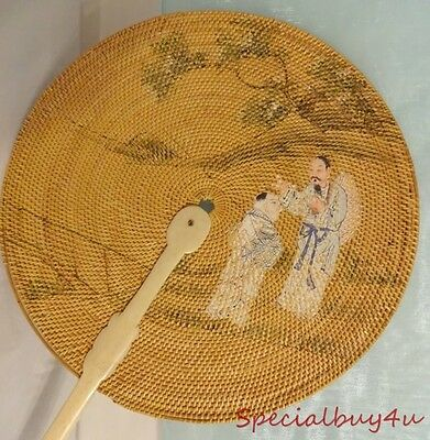 Antique Scenic Chinese Hand Painted Screen Fan Bone Handle Rare