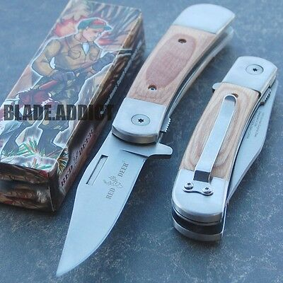 RED DEER Real Wood Classic Stainless Steel Spring Assisted Open Pocket Knife -h