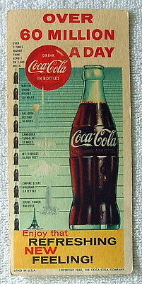 1960 INK BLOTTER ADVERTISING DRINK COCA COLA OVER 60 MILLION A DAY BAROMETER #ff