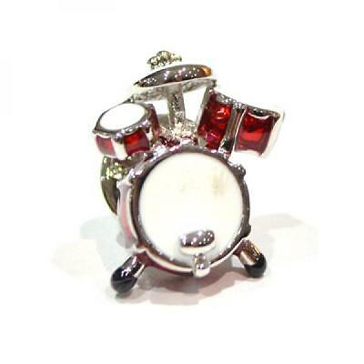 Red Drumkit Design Silver Plated Lapel Pin Badge Drum Drummer Music Badges New