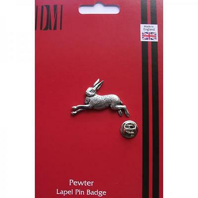 Silver Hare Pewter Lapel Pin Badge Handmade In England Hares Rabbit Rabbits New