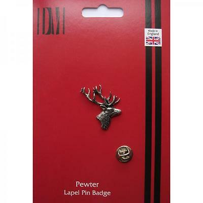 Silver Stags Head Pewter Lapel Pin Badge Handmade In England Stag Roe Badges New