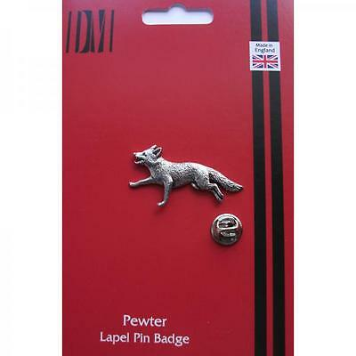 Silver Running Fox Pewter Lapel Pin Badge Handmade In England Foxes Badges New