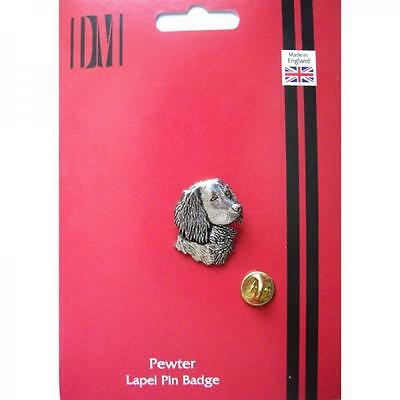 Silver Spaniels Head Pewter Lapel Pin Badge Handmade In England Dog Badges New