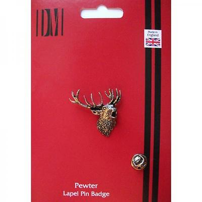 Silver Roaring Stags Pewter Lapel Pin Badge Handmade In England Deer Badges New
