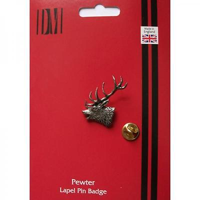 Silver Red Stags Head Pewter Lapel Pin Badge Handmade In England Badges New