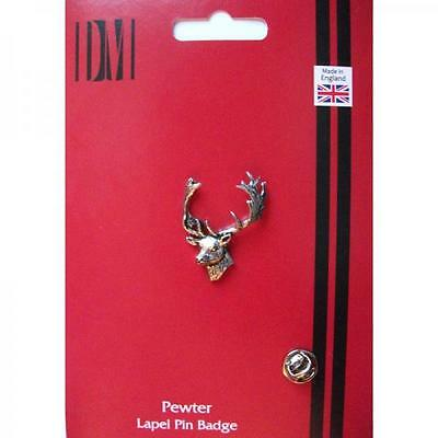 Silver Fallow Deer Head Pewter Lapel Pin Badge Handmade In England Badges New