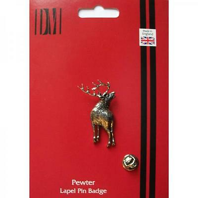 Silver Stag Design Pewter Lapel Pin Badge Handmade In England Deer Badges New
