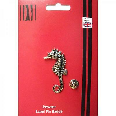 Silver Handmade In England Nautical Seahorse Design Pewter Lapel Pin Badge New