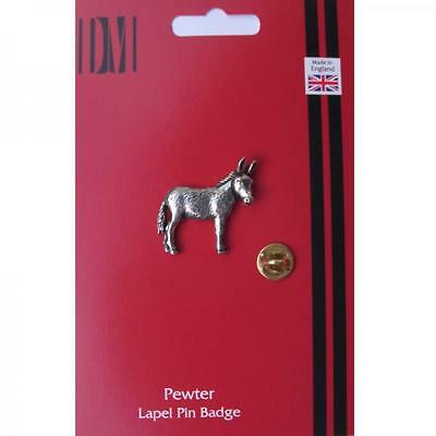 Silver Donkey Design Pewter Lapel Pin Badge Handmade In England Badges New
