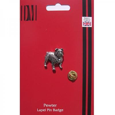 Silver British Bulldog Design Pewter Lapel Pin Badge Handmade In England Dog New