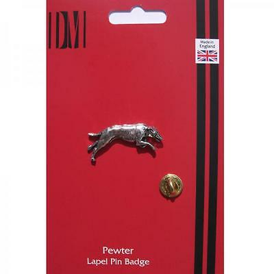 Silver Greyhound Dog Design Pewter Lapel Pin Badge Handmade In England Race New
