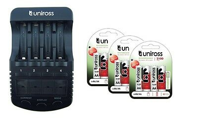 UNiROSS ULTIMATE INTELLIGENT SMART Charger AA AAA+ 12 x AA Hybrio 2100 Bats