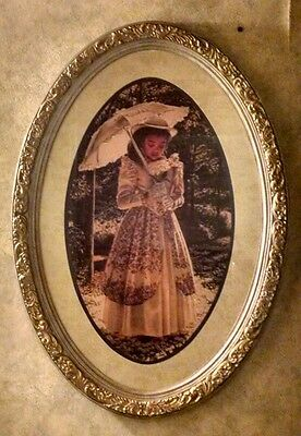 Home Interiors, Homco Old Fashioned African American Girl Oval Picture