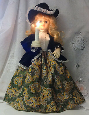Vintage Telco MOTION-ette Animated Illuminated Christmas Victorian Girl In Green
