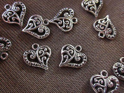 10 Silver Colour 14x12mm Heart Charms (Double Sided) #ch1719