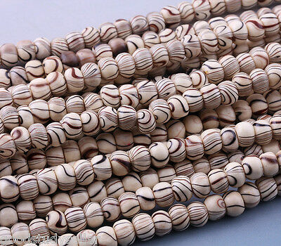 100 Pcs Streak Wood Spacer Loose Beads Bracelets Necklace Charms findings 6mm