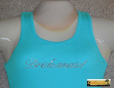 """BRIDESMAID"" Acqua Tank Top American Apparel Shirt Wedding Junior Womens Size"