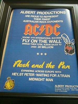 AC/DC Fly On The Wall Tour Promo Poster Ad Framed! Printed Once and Never Again!