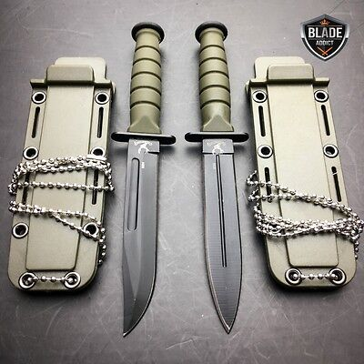 "2 PC 6"" Kabai Tactical Combat Fixed Blade Neck Boot Knife w/ Chained Sheath NEW"