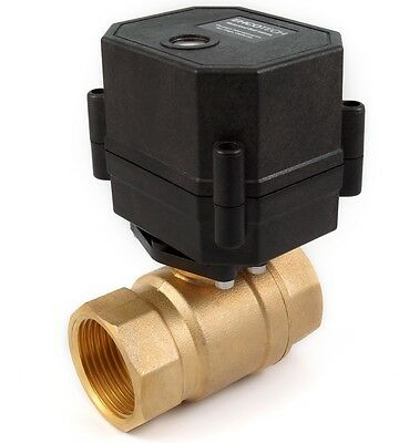 "1"" NPT Motorized Ball Valve Brass Multi-Volt: 9, 12, 24 volt AC/DC, 2-wire, N/C"